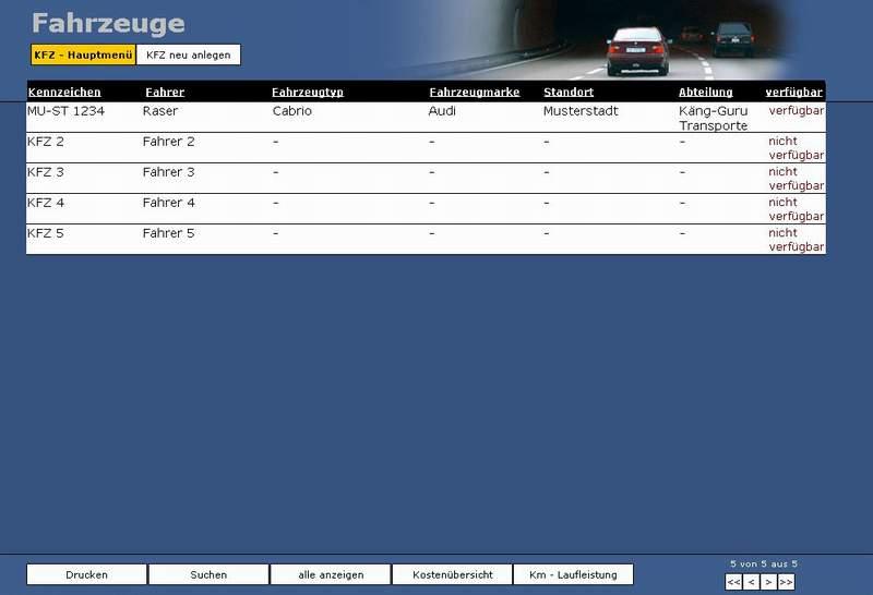 Fahrzeugübersicht