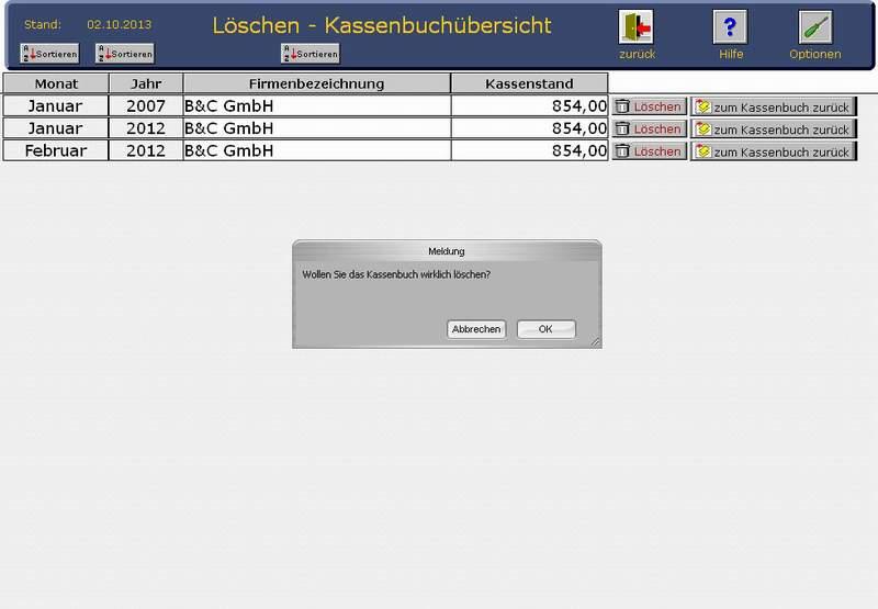 Kassenbuchllöschung